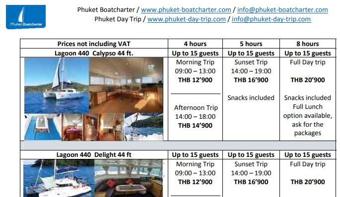 Rates chartering a private boat in Phuket for day trips